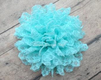 """Aqua Hair Flower - Lace Hair Flower - Hair Clip or Brooch - 3.5"""" Jane Flower - Aqua Flower Clip"""