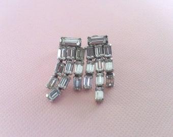 Art Deco Rhinestone Earrings Dangle Drop Bridal Wedding Fashion Jewelry