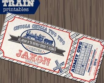 Train invitation, vintage train party, train printables, vintage train birthday