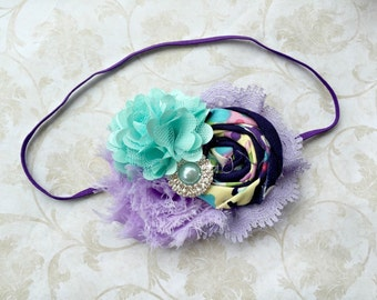 Lavender and aqua headband, baby headband, girls headband, newborn headband, blue and purlple headband, photography prop