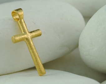 Solid 14K Yellow Gold Cross with Brushed Finish