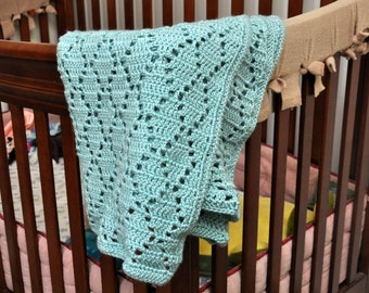 Baby/Child Afghan, Hand Crocheted, Green