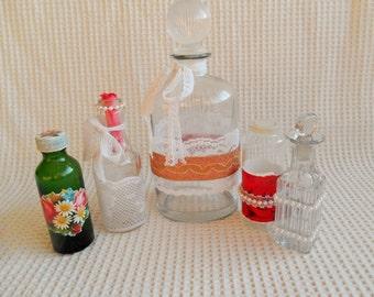 5 Glass Bottles Vintage Cottage Chic Collection Boudoir Home Decor Storage