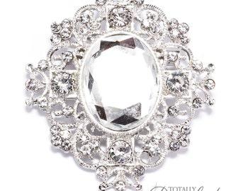 90pcs Wholesale Wedding Rhinestone Crystal Brooch Embellishments, Brooch 409-S