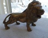 Vintage brass lion figurine statue