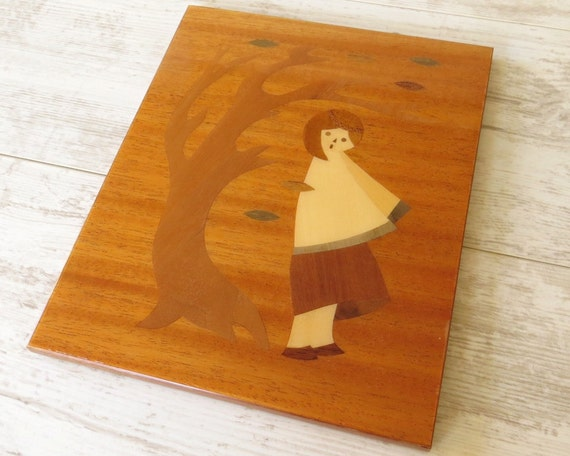Wood Inlay Wall Decor : Vintage wooden wall hanging wood inlay picture plaque
