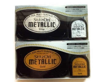 stazon metallic ink pad set. multipurpose inks for plastic, polymer clay, coated or uncoated paper. with ink refill bottle. gold or silver