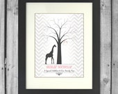 Giraffe Baby Shower Fingerprint Tree