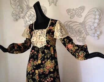 Vintage 1970s Prairie Dress 70s Boho Hippie Dress Maxi Dress Little House on the Prairie Back Floral Gunne Sax Style by Young Edwardian  S