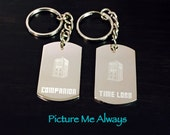 His/Hers Doctor Who Inspired Engraved Keychains
