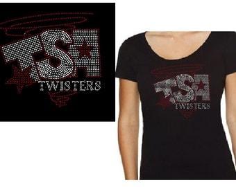 Bling Custom Rhinestone TSA Twisters Personalized Shirt Tank or Jacket