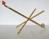 40-Up Ice Fishing Tackle Vintage Tip Up Pole Wood Rig