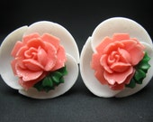 So Retro - Vintage Lucite Earrings - Peachy Rose Earrings - Clip ons