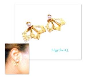 Pearl Jacket Earrings, Front and Back Earrings, Pearl and Filigree, Elegant Front and back Earrings,Ear Cuff, Ear Jacket, gift for her