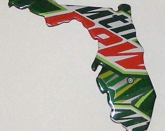 FLORIDA (FL) Shaped State Magnet - Mtn Dew Soda Can (Replica)