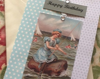 edwardian ladies seaside beach birthday card with verse vintage style