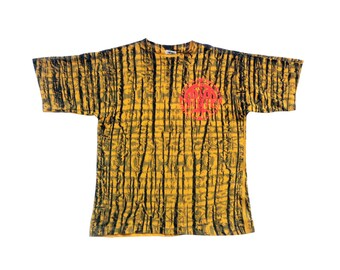 Rare Neon Bugle Boy Puffy Print Accented Allover Print Surf T-Shirt - S / M