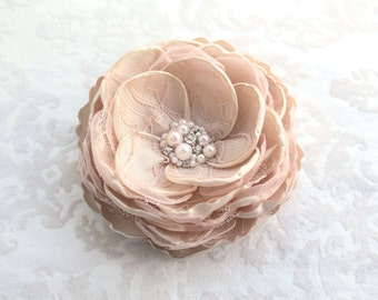 Champagne Blush Hair Flower/ Brooch/ Handmade Wedding Accessory