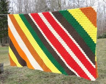 Vintage crochet blanket afghan throw in bright colorful diagonal stripes color blocks 75 x 74 in