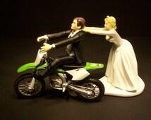 Come Back GREEN Kawasaki KX 250F Dirt Bike Bride and Groom Funny Motorcycle Wedding Cake Topper Groom's Cake