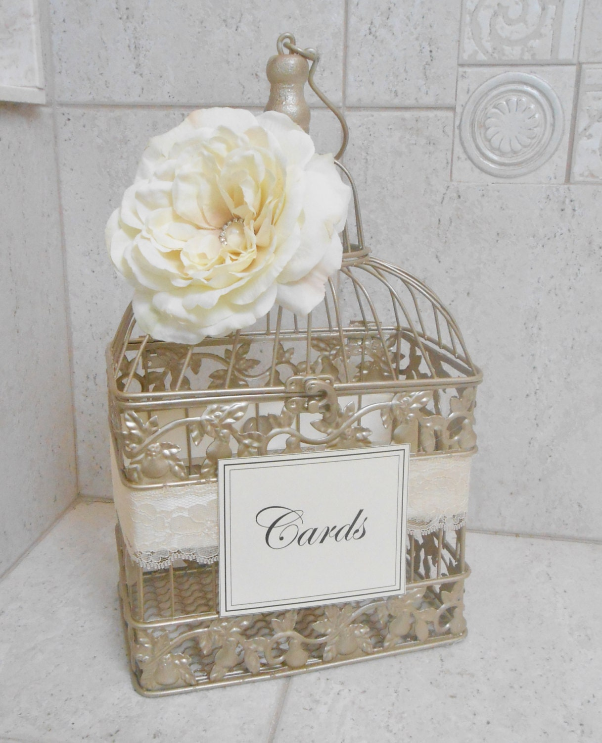 Small Champagne Gold Wedding Birdcage Card Holder / Wedding