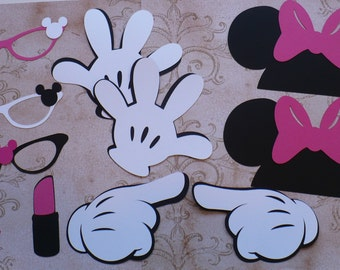 DIY Minnie Mouse Black Ears Gloves Glasses Hot Pink Bow Lipstick Lips Cardstock for Crafts Photo Booth Birthday Party Weddings Props DIY