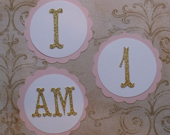 Scallop Circles Letters -  I am 1 - Die Cuts Gold Glitter DIY Princess Crafts Birthday Party High Chair Banners
