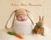 Baby Boy Hat - Baby Girl Hat -  Baby Hat - Baby Bunny Hat with Big Floppy Ears - Tan and Cream