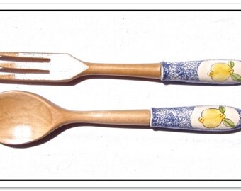 Serving Fork & Spoon in Blue Spatterware with Lemons Design