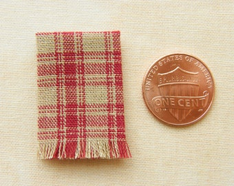 Miniature woven kitchen towel - oatmeal and red plaid, 1:12 scale