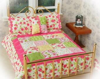 "Miniature Handmade Quilt  with 2 Matching Bed Pillows & Decorator Pillow, ""Joyful"" - 1:12 Scale"