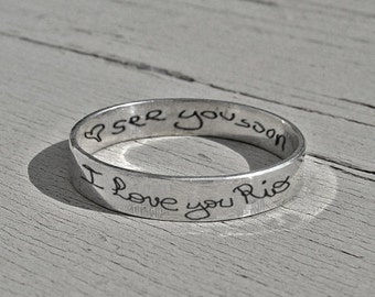 Personalized jewelry, personalized quote, band, love ring, handwriting ring, handwriting jewelry, secret handwriting, secret message ring