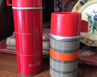 Vintage Plaid Thermoses Set of 2 Rusty Chippy Fun Vintage Decor