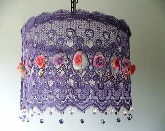 Anat Bon's Lighting -  Lavender lace ceiling  lamp shade,Dangling purple and pink  Tea Rose Lighting