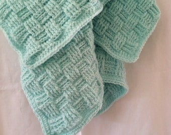 Green Crochet Baby Blanket