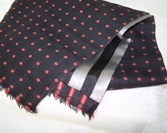 Dark Grey Wool Scarf, Silk Lined Winter Scarf, Warm Muffler, Black and Silver Lining