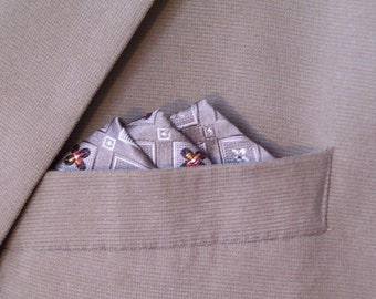 Taupe Silk Pocket Square, Pure Silk Handkerchief, Mens Traditional Accessory
