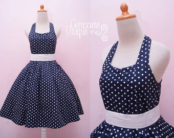 Navy Blue Polka dot Dress Halter Swing Rockabilly Retro Vintage Inspired, Plus Size Pin Up 50s Girl Party