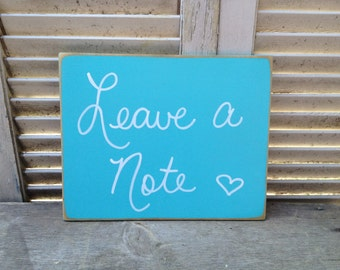 Caribbean Blue and White Leave A Note Wedding Sign, Wooden Beach Wedding Signs, Leave Your Wishes Sign