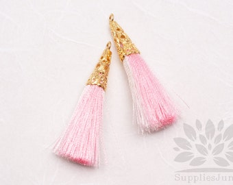T003-02-MWP// Gold Plated Cone Multi White, Pink 45mm Tassel Pendant, 2pcs