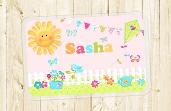 Pink Butterfly Flower Garden Laminated Placemat for Girls