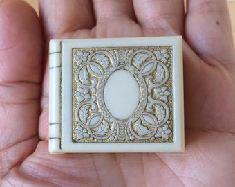 Art Deco Ring Box Gilt Book Celluloid Wedding Band Pin Pendant Charm Jewelry Vintage Los Angeles California CA