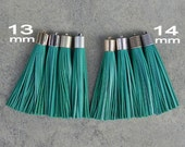 Dark Mint Leather (Cowhide) TASSEL in 13 or 14mm Cap -4 colors Plated Cap- Pick cap size, cap color & trimmed size