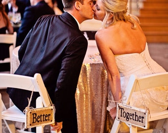 Better Together Chair top wedding burlap signs, ivory or white, 10x5 twine hanging BETTER TOGETHER
