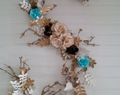 paper garland with roses, leaves and boxwood leaves