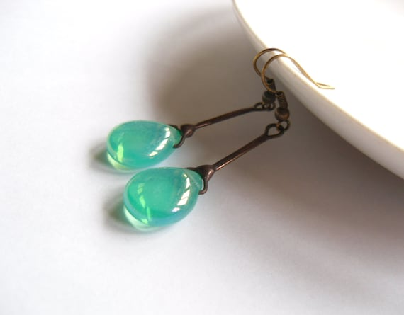 Glass beaded earrings, copper wire jewelry,  turquoise pendant, contemporary jewelry, wire jewelry, Boho