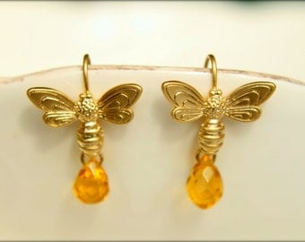 Bee and Honey Drop Dangle Earrings in Gold