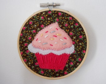 Pink and White Cupcake Felt Wall Art in Embroidery Hoop