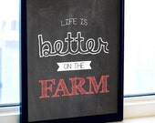 Black and White prints, Life Is Better On The Farm, Print, Farmhouse Prints, Black And White Wall Art, Black White Red, Black And Red Decor