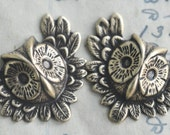 Owl Brass Stampings - Two- Brass Ox -Steampunk Supplies